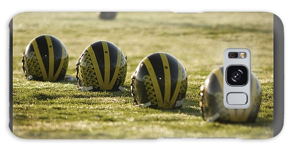 Helmets On Dew-covered Field At Dawn Galaxy Case