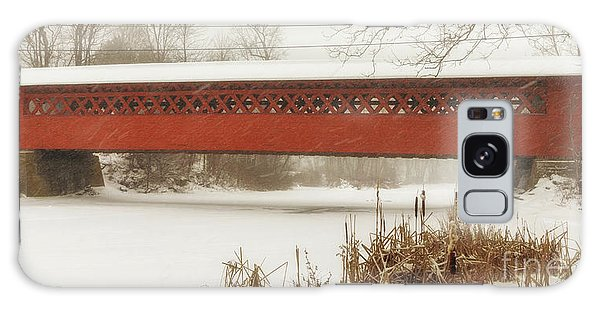Henry Covered Bridge In Winter Galaxy Case