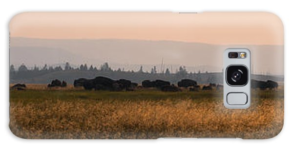 Herd Of Bison Grazing Panorama Galaxy Case