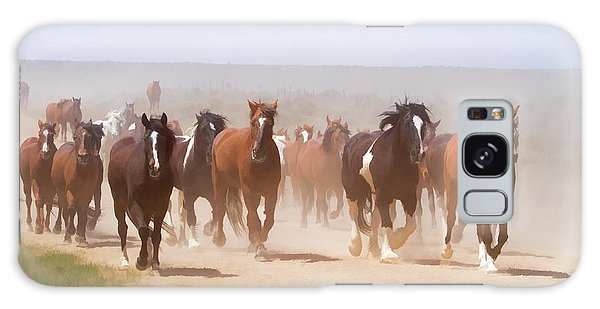 Herd Of Horses During The Great American Horse Drive On A Dusty Road Galaxy Case