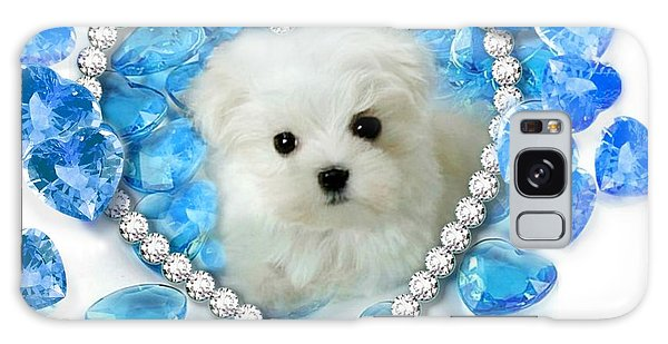 Hermes The Maltese And Blue Hearts Galaxy Case
