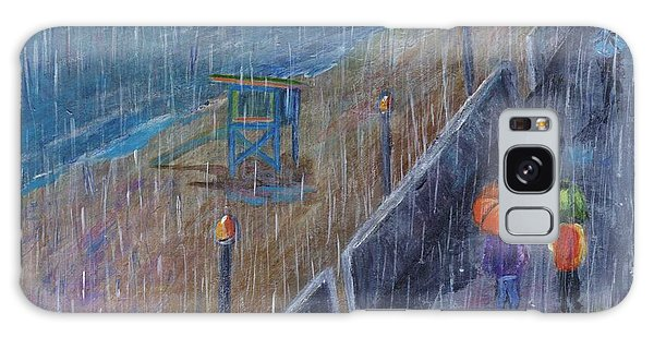 Galaxy Case featuring the painting Hermosa Beach Rain by Jamie Frier
