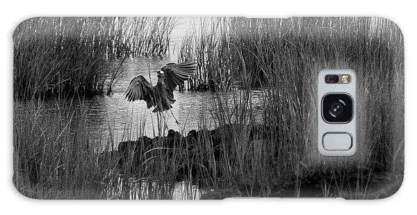 Heron And Grass In B/w Galaxy Case