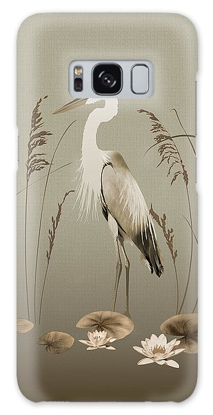 Heron And Lotus Flowers Galaxy Case