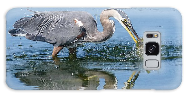 Great Blue Heron Catches A Fish Galaxy Case by Keith Boone