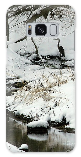 Heron In Winter Galaxy Case