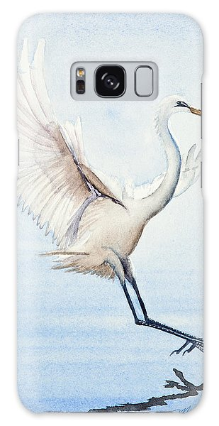 Heron Landing Watercolor Galaxy Case by Michelle Wiarda