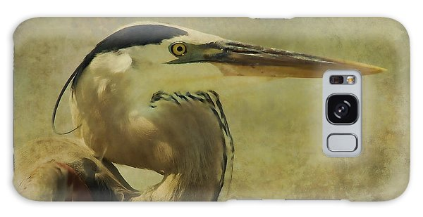 Heron On Texture Galaxy Case by Deborah Benoit