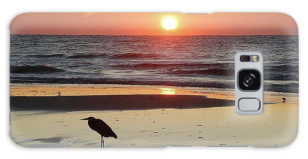 Heron Watching Sunrise Galaxy Case