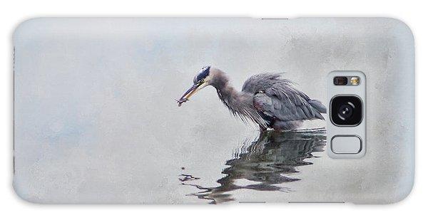 Heron Fishing  - Textured Galaxy Case