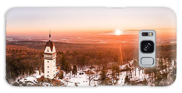 Heublein Tower In Simsbury Connecticut, Winter Sunrise Panorama Galaxy Case
