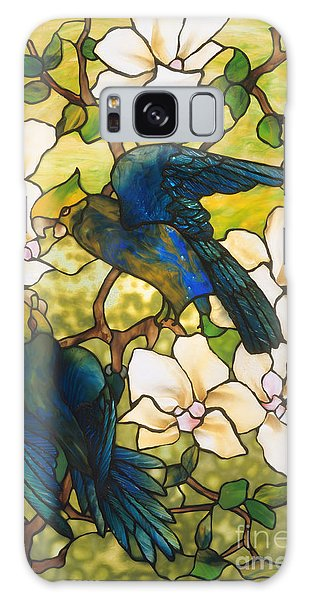 Lovebird Galaxy S8 Case - Hibiscus And Parrots by Louis Comfort Tiffany