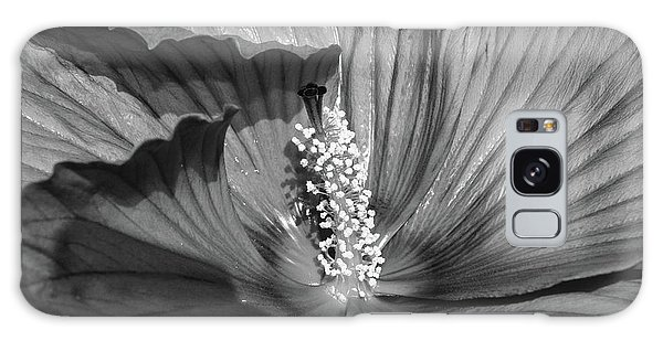 Galaxy Case - Hibiscus Black And White by Megan Cohen