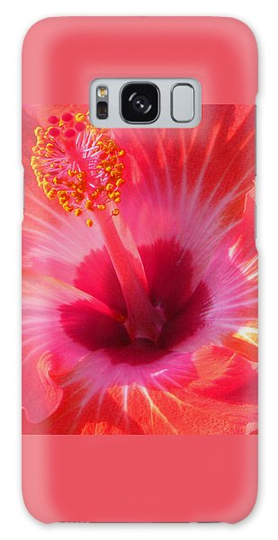 Hibiscus - Coral And Pink Square Galaxy Case by Kerri Ligatich