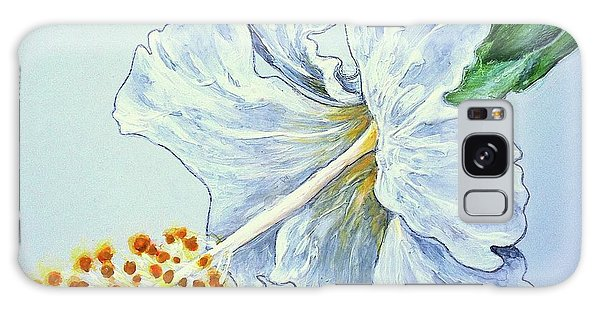 Hibiscus White And Yellow Galaxy Case by Sheron Petrie