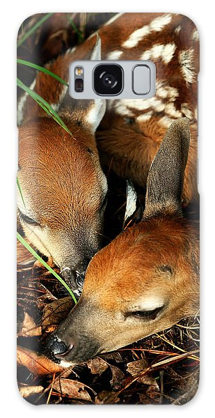 Hiding Twin Whitetail Fawns Galaxy Case