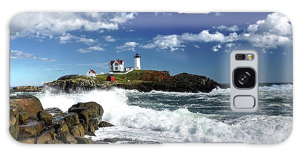 High Surf At Nubble Light Galaxy Case