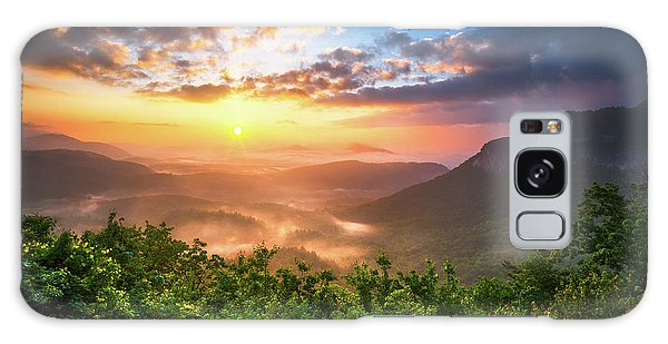 Bright Sun Galaxy Case - Highlands Sunrise - Whitesides Mountain In Highlands Nc by Dave Allen