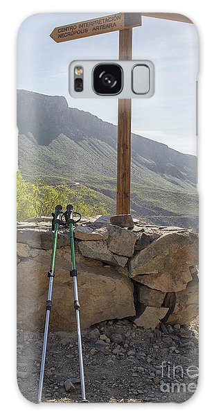 Hiking Poles Resting Near Sign Galaxy Case by Patricia Hofmeester