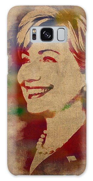 Hillary Rodham Clinton Watercolor Portrait Galaxy Case by Design Turnpike