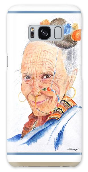 Himalayan Smile Lines -- Portrait Of Old Asian Woman Galaxy Case