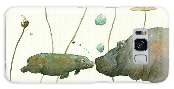 Hippopotamus Galaxy S8 Case - Hippo Mom With Babyv by Juan Bosco
