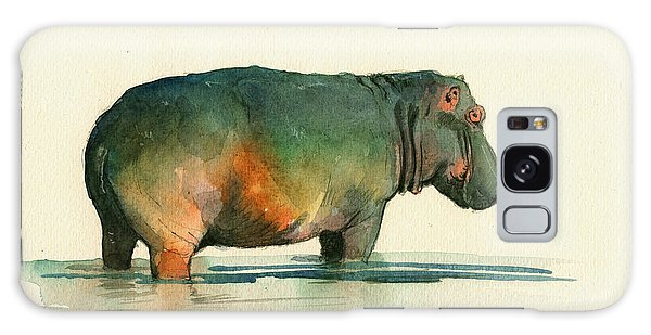 Hippo Watercolor Painting Galaxy Case