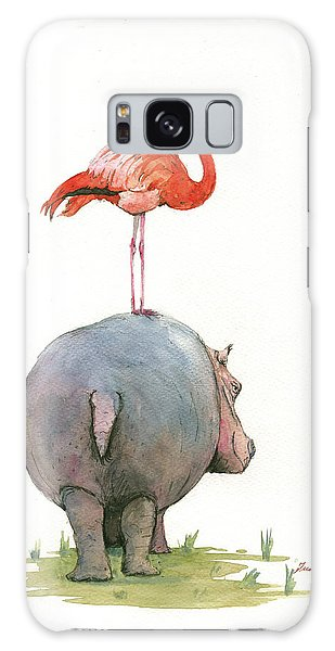 Bird Galaxy Case - Hippo With Flamingo by Juan Bosco
