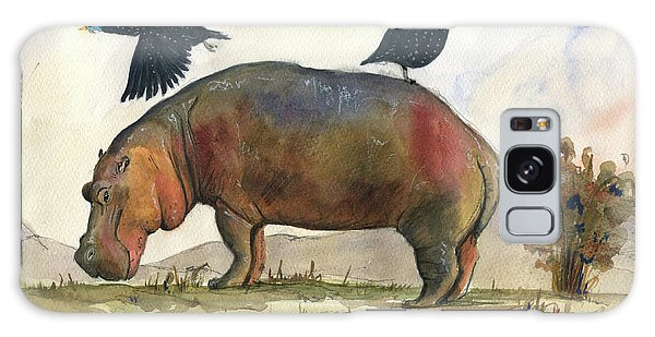 Hippopotamus Galaxy S8 Case - Hippo With Guineafowls by Juan Bosco