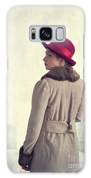 Historical Woman In An Overcoat And Red Hat Galaxy Case