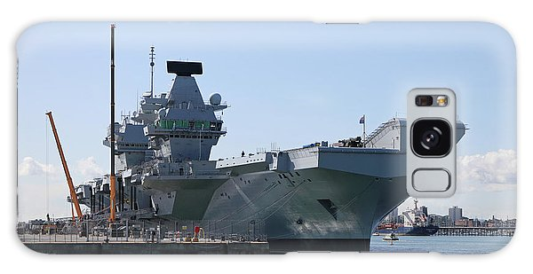 Hms Queen Elizabeth Aircraft Carrier At Portmouth Harbour Galaxy Case