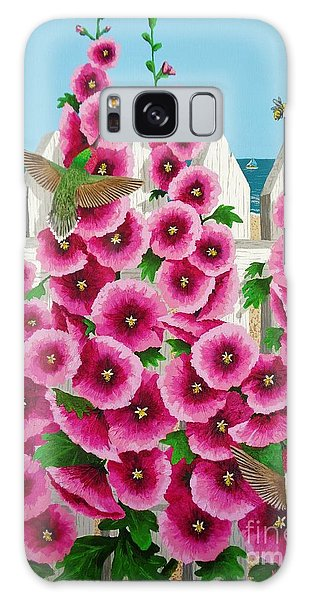Hollyhocks And Humming Birds Galaxy Case by Katherine Young-Beck