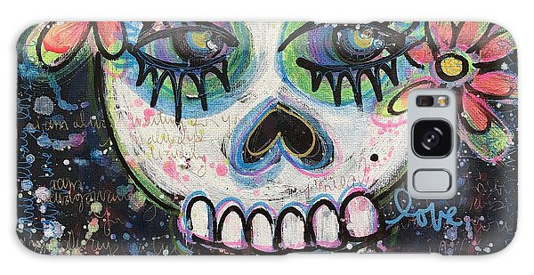 Galaxy Case featuring the painting Home Is Wherever I Am With You An Abstract Skull Painting About Love by Laurie Maves ART