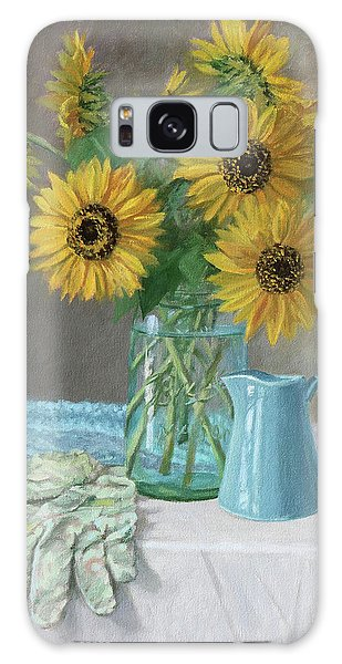 Homegrown - Sunflowers In A Mason Jar With Gardening Gloves And Blue Cream Pitcher Galaxy Case