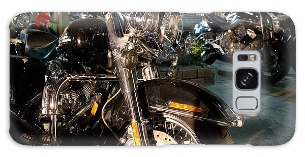 Horizontal Front View Of Fat Cruiser Motorcycle With Chrome Fork Galaxy Case by Jason Rosette