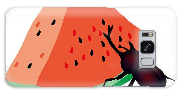 Galaxy Case - Horn Beetle Is Eating A Piece Of Red Watermelon by Moto-hal