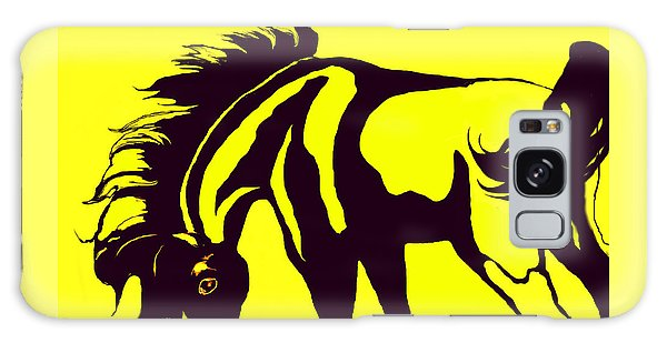 Horse-black And Yellow Galaxy Case by Loxi Sibley