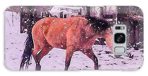 Horse In Snow Galaxy Case
