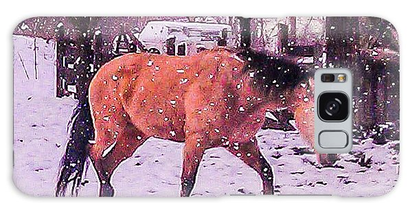 Horse In Snow Galaxy Case