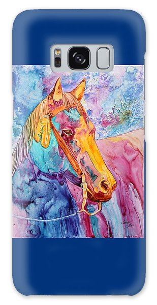 Horse Of Many Colors Galaxy Case by Nancy Jolley