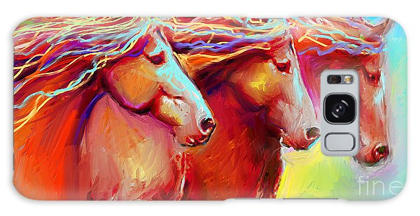 Horse Stampede Painting Galaxy Case