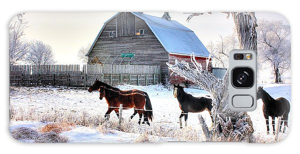 Horses And Barn Galaxy Case
