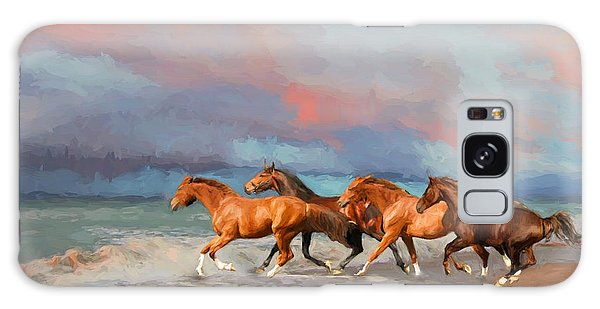 Horses At The Beach Galaxy Case