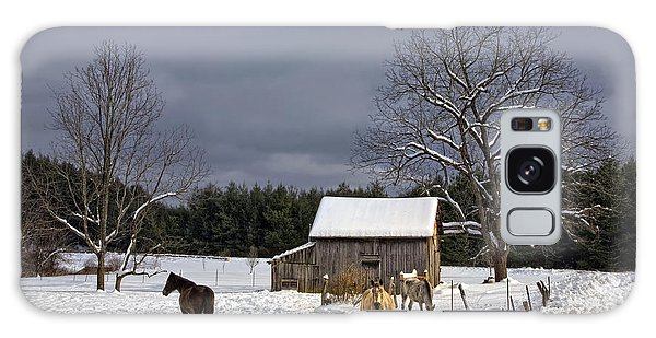 Horses In Snow Galaxy Case