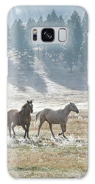 Horses In The Morning Light Galaxy Case