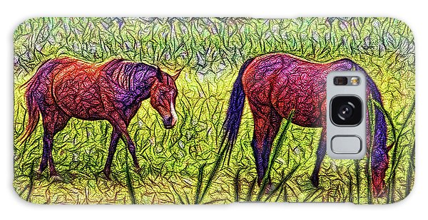 Horses In Tranquil Field Galaxy Case