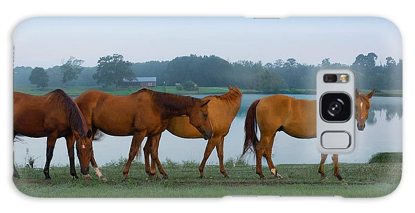 Horses On The Walk Galaxy Case