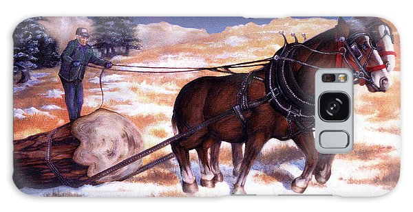 Horses Pulling Log Galaxy Case