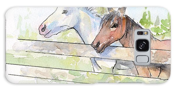 Horse Galaxy Case - Horses Watercolor Sketch by Olga Shvartsur