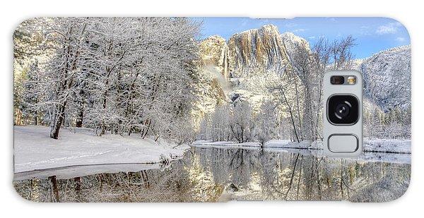 Horsetail Fall Reflections Winter Yosemite National Park Galaxy Case